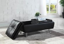 300283 Orren ellis rolston black faux leather storage ottoman with flip top trays and chrome finish legs