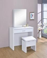 300290 Latitude run nydia 3 piece glossy white finish wood make up vanity set with storage mirror and storage stool