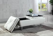 300293 Latitude run bente white faux leather storage ottoman with flip top trays and chrome finish legs
