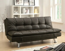 300321 Dilleston collection brown leather like vinyl upholstered folding futon sofa bed