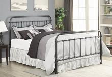 300399Q Stoney creek fairfield vertical slat matte black finish metal platform queen bed