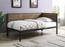 300836 House of hampton colton getler black metal finish chestnut finish wood daybed