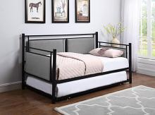 300940 House of hampton burkhead joelle black metal finish grey fabric daybed with slide out trundle with casters