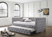 302161 2 pc Baxton studio anabella grey tufted fabric back day bed with trundle