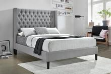 305903Q Strick & bolton beckmann summerset light grey fabric tufted queen size bed set
