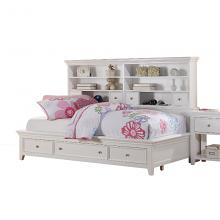 Acme 30595F Lacey white finish wood full day bed storage drawers & shelves