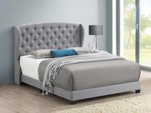 305971Q Mercer 41 littleton light grey fabric button tufted headboard queen bed set
