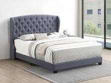 305972Q Mercer 41 littleton grey fabric button tufted headboard queen bed set