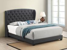 305973Q Mercer 41 littleton charcoal fabric button tufted headboard queen bed set