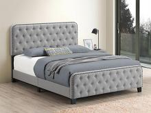 305991Q Mercer 41 littleton mineral velvet fabric button tufted headboard queen bed set