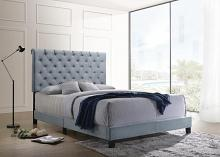 310041Q Mercer 41 velero slate blue velvet fabric button tufted headboard queen bed set