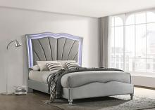 310048Q Rosdorf park laufer bowfield grey velvet ornate tufted LED headboard queen bed set