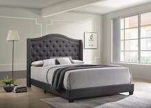 310072Q Mercer 41 littleton grey fabric button tufted headboard queen bed set