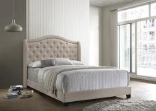 310073Q Mercer 41 littleton beige fabric button tufted headboard queen bed set