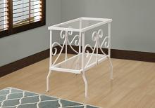 ACCENT TABLE - WHITE METAL WITH TEMPERED GLASS