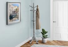 """COAT RACK - 73""""H / GREY WOOD TRADITIONAL STYLE"""