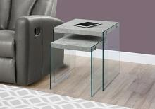 NESTING TABLE - 2PCS SET / GREY CEMENT / TEMPERED GLASS