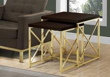 NESTING TABLE - 2PCS SET / ESPRESSO / GOLD METAL