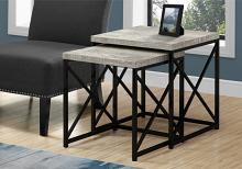 NESTING TABLE - 2PCS SET / GREY RECLAIMED WOOD / BLACK