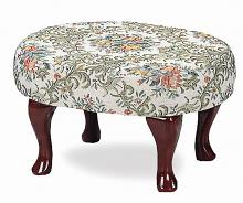 3422 Cherry finish wood floral damask small upholstered foot stool rest