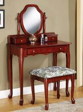 3441 Astoria grand craigmiller cherry finish wood bedroom make up vanity dressing table set with mirror