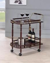3512 Charlton home reding cherry finish wood tea / bar serving trolley cart brass accents and casters