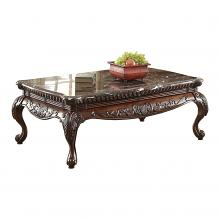 Homelegance HE-3526-30 Thibodaux marble top coffee table cherry finish wood trim