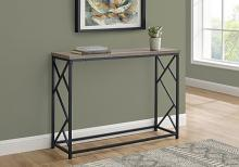 """ACCENT TABLE - 44""""L / TAUPE / BLACK METAL HALL CONSOLE"""