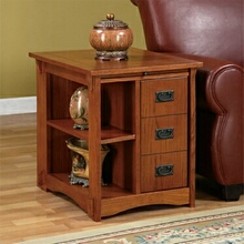 Oak finish wood mission style side table with storage