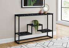 """ACCENT TABLE - 48""""L / BLACK MARBLE / BLACK METAL CONSOLE"""