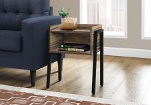 """ACCENT TABLE - 23""""H / BROWN RECLAIMED-LOOK / BLACK METAL"""