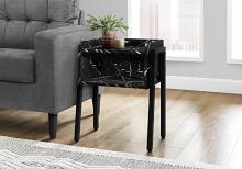 """ACCENT TABLE - 23""""H / BLACK MARBLE / BLACK METAL"""