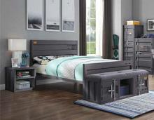 Acme 35920T-2PC 2 pc Transport cargo gunmetal metal kids twin bed and nightstand set