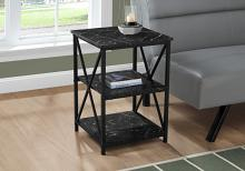 """ACCENT TABLE - 26""""H / BLACK MARBLE / BLACK METAL"""
