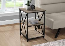 """ACCENT TABLE - 26""""H / DARK TAUPE / BLACK METAL"""