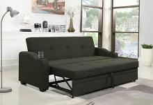 360063 Charcoal gray fabric folding sofa bed with tufted back and seat with cup holders in arms