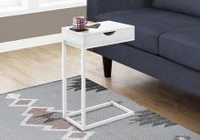ACCENT TABLE - WHITE / WHITE METAL WITH A DRAWER