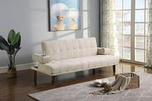 360104 Ebern designs werth beige chenille folding futon sofa bed with folding arms with cup holders
