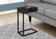 ACCENT TABLE - BLACK MARBLE / BLACK METAL WITH A DRAWER