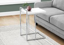 """ACCENT TABLE - 25""""H / GLOSSY WHITE / CHROME METAL"""