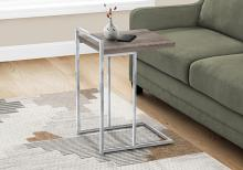 """ACCENT TABLE - 25""""H / DARK TAUPE / CHROME METAL"""