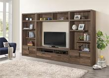 "36660 4 pc Danio frazier park rustic natural finish wood tv entertainment center 64"" tv stand with side piers"