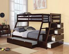 Acme 37015 Harriet bee freeport jason espresso finish wood twin over full bunk bed set stair case drawers trundle