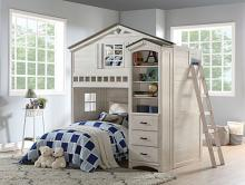 Acme 37165 Zoomie kids mila tree house weathered white washed gray finish wood kids loft bed bunk bed set