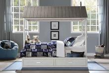 Acme 37170T Harriet bee fujii tree house cottage weathered white and grey finish wood twin covered bed