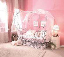 Acme 37190T Priya silver finish metal frame canopy bed with heart shapes design twin canopy bed
