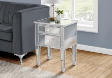 """ACCENT TABLE - 25""""H / MIRROR / SILVER WITH STORAGE"""