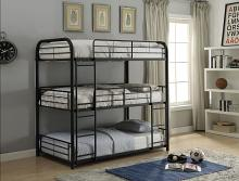Acme 37330 Zoomie kids bunce cairo black finish metal triple full bunk bed set