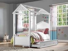 Acme 37345F Zoomie kids mila rapunzel white finish wood kids full size canopy bed scroll design accents