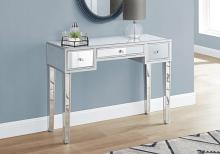 """ACCENT TABLE - 42""""L / MIRROR / SILVER WITH STORAGE"""
